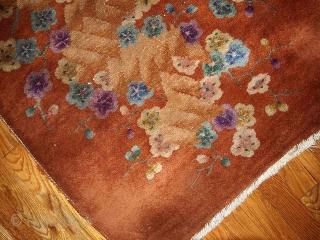 #1B390  Hand made antique Art Deco Chinese rug 2.6' x 4.5' ( 76cm x 137cm ) С.1920s