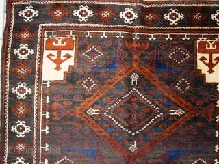 #1C231  Hand made vintage Afghan Baluch rug 3.7' x 6.1' ( 117cm x 187cm ) C.1940s