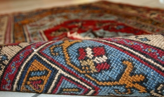 #1C528  Handmade vintage prayer Turkish Konya rug 2.6' x 4.3' ( 81cm x 130cm) C.1950s