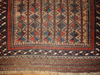 #1B219  Handmade antique collectible Afghan prayer Baluch rug 2.10' x 5.3' ( 91cm x 161cm) 1880.C