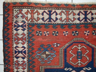 #1C427  Hand made antique Caucasian Kazak prayer rug 3.8' x 5.2' (116cm x 160cm) C.1900s