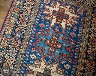 #1B520  Hand made antique Caucasian Chichi rug 3.9' x 6.2' ( 119cm x 189cm ) C.1880s