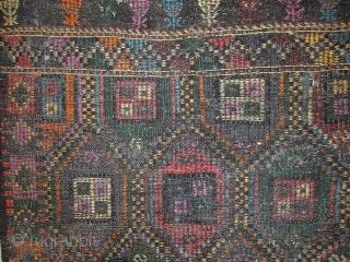 #1C532  Handmade antique Tunisian flat-weave kilim 3.3' x 9.2' ( 101cm x 283cm) 1930s