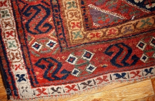 #1B97  Handmade antique Persian Kurdish rug 5.1' X 7.3' ( 155cm X 222cm ) C.1860
