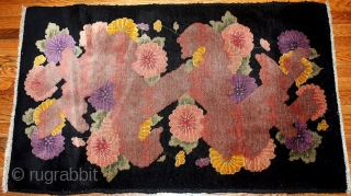 #1B79  Handmade antique Chinese Art Deco rug 2.6' X 4.4' ( 79cm X 134cm ) C.1920