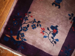 #1B86  Hand made antique Art Deco Chinese rug 2.6' X 4.9' ( 79cm X 149cm ) C.1920