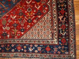 #1B189  Hand made antique collectible Persian Khamseh rug 6.4' X 9.9' ( 195cm X 301cm) C.1870