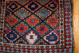 #1B565  Hand made antique collectible Persian Jaf Kurdish bag face 1.4' x 1.6' ( 43m x 49cm) 1880.C