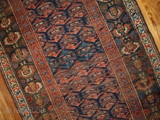 #1B431  Hand made antique Persian Kurdish runner 3.3' x 11.7' ( 100cm x 356cm ) C.1900