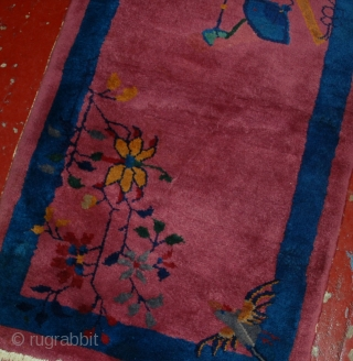 #1B541  Hand made antique Art Deco Chinese rug 2.1' x 3.9' ( 64cm x 119cm ) C.1920