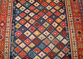 #1B559 Hand made antique Caucasian Shirvan rug 4' x 5.5' ( 122cm x 167cm ) 1910.C
