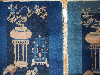 #1B327  Hand made antique collectible pair of Peking Chinese rugs 1.7' x 1.10' ( 51cm x 59cm ) C.1870