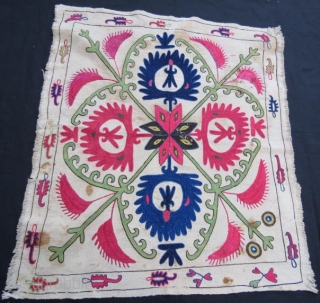 Antique Kirghiz wall hanging , silk embroidery on woven cotton,72 x 60 cm