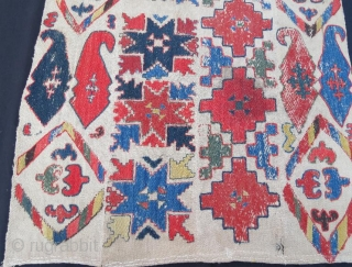 Uzbek band,pure wool embroidery with natural color .126 x 70 cm