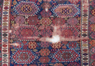 Early Jaff kurdish rug with damage, 210 x 160 cm
