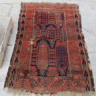 Antique Beluch rug with dammage,138 x 90 cm