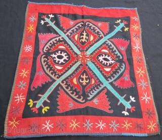 Antique Kyrgyz Triba Lakai Mirror Cover,Silk embroidery wall hanging.68 x 60 cm