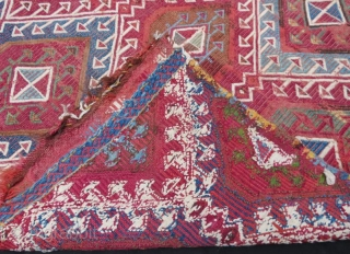 Antique anatolian embroidery chuval with damage,90 x 80 cm