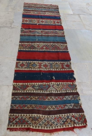 Anatolian wool embroidery kilim with damage, 300 x 80 cm