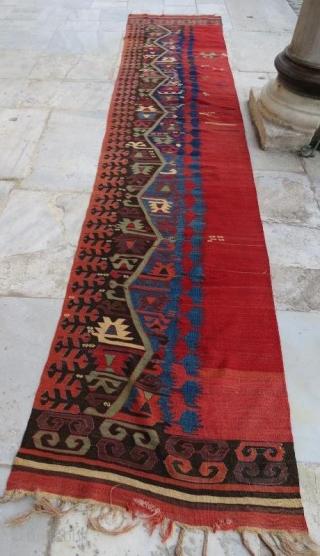 Anatolian kilim fragment .450 x 86 cm