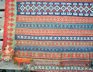 Large antique Qashqai flatweave bagface or mafrash panel. There are lappits at one end so Im leaning towards a bag. Fine weave and good vegetable dyes.No repairs but some edge damage and  ...