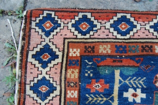 Antique seichur rug. Leshgi design. 19th century. Some minor wear and edge losses. Organic dyes. Priced to sell. 182 x 103cm.