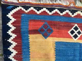 Beautiful south west persian Luri kilim. Late 19th.c. Good condition and colours.No repairs or hidden issues.194 x 256cm. Gabbeh-esque!.