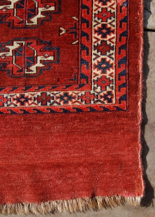 Fine antique Yomut chuval. Circa 1850. 108 x 73cm. Lovely wool, old back and good spacing of the guls, even for a 16 gul chuval. Small faded out repairs to the top  ...