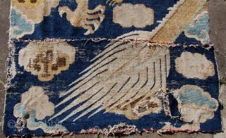 Ning xia dragon pillar rug fragment. China. 18th century. 227 x 104cm. Superb drawing.