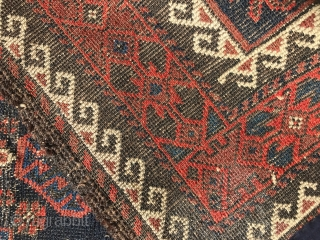 Antique Baluch rug. Possibly third quarter 19th.c. Some light wear to the field. A  nice mina khani variant. 240 x 106cm. Reasonably priced.
