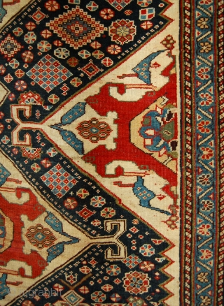 """A fine antique Qashqai rug. 220cm x 129cm. [4ft.3""""x7ft.3""""] Super quality with good age and a velvet like handle."""