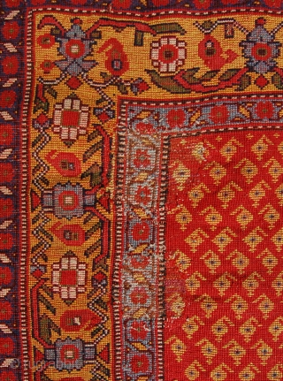 Superb small khamseh rug. Made with the finest wool and dyes. 19th century. Old repairs and damage to borders. 114 x 58cm.