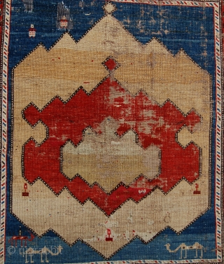 Antique  caucasian village rug [kuba/Dagestan?] Poor condition but incredible graphics. 125 x 113cm.. 19th century.