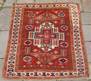 Antique Bergama area rug. Mid 19th century. 178x168cm. Lovely square size and rich colours. Some wear but fixable and no hidden condition issues. Fresh to the market.