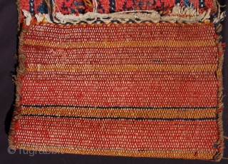 Interesting double sided west persian bag. Perhaps Luri? 80 x 38cm. Good condition and good dyes. Cotton warp single wool weft. Fun thing at a fun price.