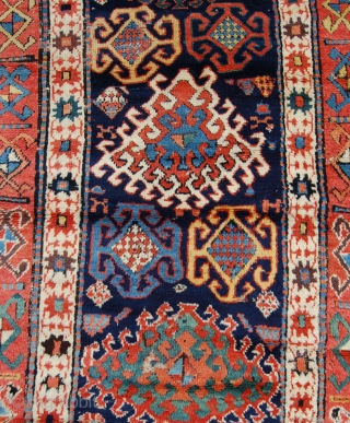 Shashavan runner. 334 x 110 cm. n w Persia. Circa 1880.Wool warps cotton wefting. Organic dyes. Mainly good pile all over. Some minor spots of amateur repair and a little black corrosion.  ...