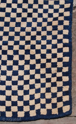 "Antique larger than average Tibetan checkerboard rug. Circa 1900. Good condition with just a very small spot of repair to the border. Full pile. Good dyes. 6'4"" x 3'3"". [193 x 99cm]"