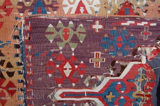 Early anatolian kilim fragment with beautiful colours. 18th century. 82 x 65cm