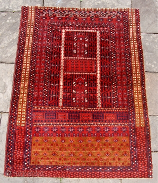 Antique Saryk ensi. 183 x 140cm. Circa 1850-75. A classic middle period example that has glowing colours and a crisp  weave. No repairs or hidden issues. Some edge losses mainly to  ...