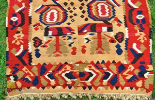 I think this could be some sort of Monastir area [or Balkan?] kelim.19th century. Woven in two pieces on a small format. 176 x 114cm. Some small holes and later fringes added.   ...