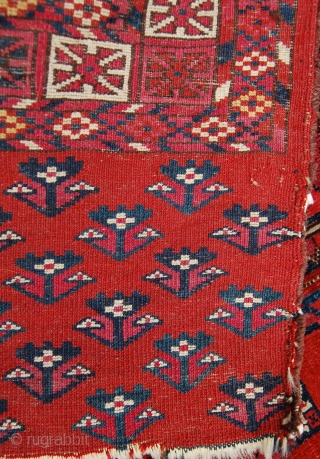 Tekke chuval. Super fine quality with paper thin handle. 77 x 119cm. Saturated hues of madder and lac.