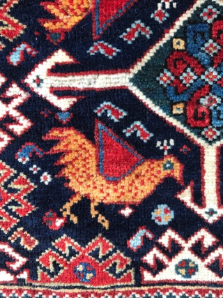 Superb Khamseh bird bag. 19th century. 61 x 66cm.