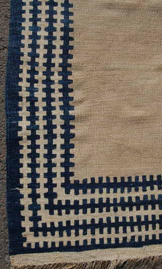 Unusual south west persian kilim, probably Luri or Qashqai. Graphic with a very unusual and decorative colour scheme. Needs a clean and one small hole to the field [pictured]