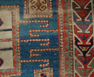Worn but charming Karachop kazak rug. 198 x 139cm.