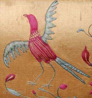 A wonderful mogul silk embroidery fragment. Aprox 33 x 26cm.17/18th. century.. See it at Arts 2011. Room 309.