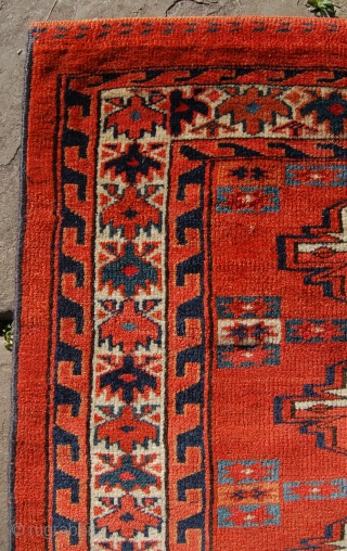 Late 19th century Yomut chuval. Crisp weave and good coours. 118 x 78cm. Needs a clean. Selvedges overbound. Inexpensive.
