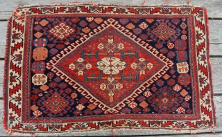 Super quality antique Afshar bagface. Circa 1875.74 x 46cm. Lovely colours and the best afshar wool. No repairs but some minor edge damage. Recommended and priced low.