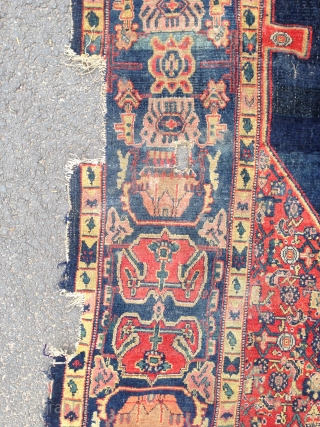 Good quality antique senneh carpet. Aprox. 8 x 5foot. Needs border repair but very beautiful. 19th century.