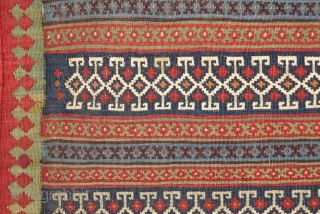 """Qashqai flatwoven large bagface with finely detailed bands of floating-weft-work. Beautiful colors with some cotton highlights. 42""""x27"""" / 107x69cm"""