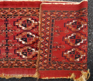 Fine antique Saryk turkmen torba. 99 x 40cm. whites are cotton but no insect dye. Mid 19th century. Edge losses and a split into the field.